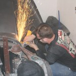 6.	Using an angle grinder, we ground the welds smooth.